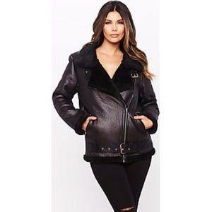 HoneyBum Faux Leather Aviator Jacket